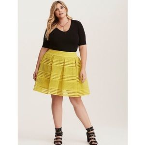 Torrid Chartreuse Striped Sheer Flared Skirt 4X